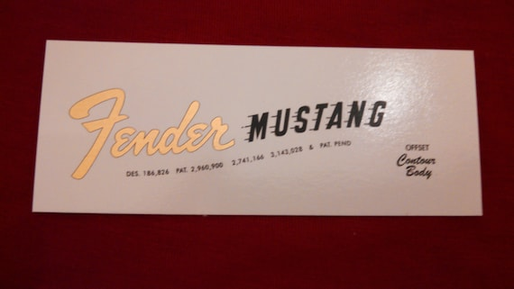 Custom Fender Mustang Guitar Restoration Decal in Metallic Gold or Brown - Waterslide Two Decals with each order.