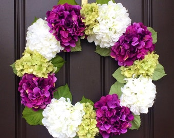 Purple and Green Hydrangea Wreath