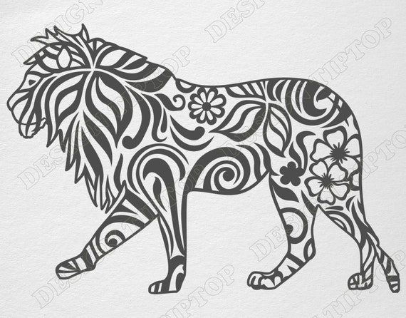 Lion Svg Cut File Cricut Lion Stencil Zentangle Design
