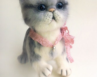 Needle felted cat, Felted kitten, Collectible dolls, Needle felting