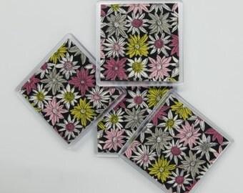 Coasters: mid-century barkcloth
