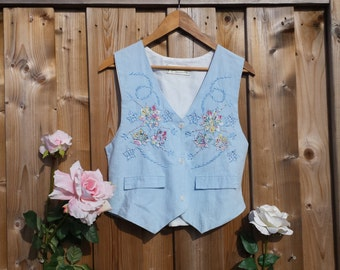 Vintage Sky Blue Embroidered Vest