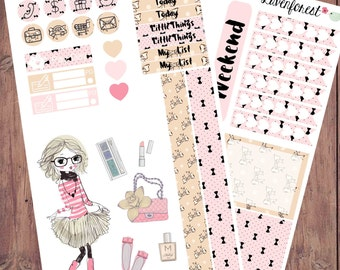 Clair fashion girl planner stickers, erin condren planner stickers,  planner sticker kit, cute planner stickers MK014
