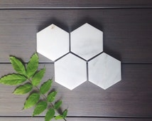 Marble Coasters // Hexagon Marble Coasters // Set of 4