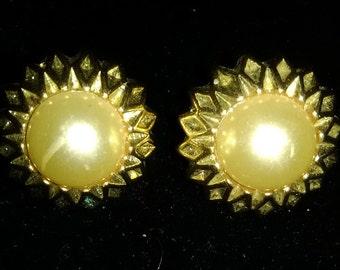 Gold-tone Button Pierced Earrings