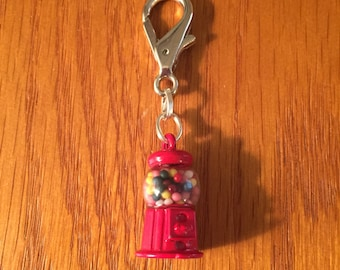Gumball machine zipper charm with key ring, Gumball machine charm, Gumball machine zipper charm, Gumball charm, Gumball zipper charm