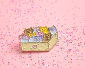 Box of Kittens - Soft Enamel Lapel Pin with Pastel Cats