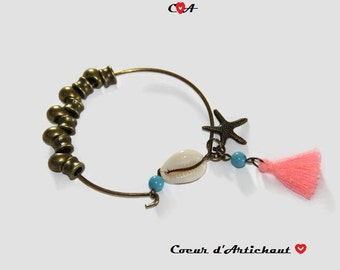 Trap Bangle Bracelet pink shell and star of sea/Bracelat shell