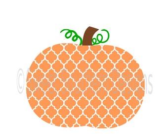 Quatrefoil pumpkin monogram SVG instant download design for cricut or silhouette