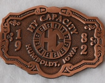 Vintage 1982 HY-CAPACITY Limited edition Belt Buckle/ Coppertone Belt Buckle/