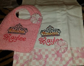 Customized burp cloth and bib set for girls