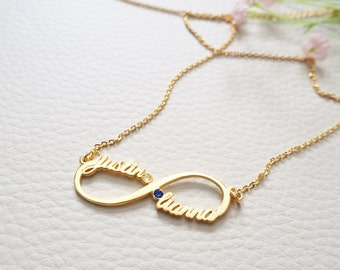 20% OFF Infinity Name Necklace  - Custom Name Necklace - Infinity Birthstone  Necklace - Sister Necklace/ Friendship Gift