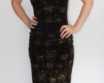 1990's Black Backless Strappy Starburst Velvet Dress