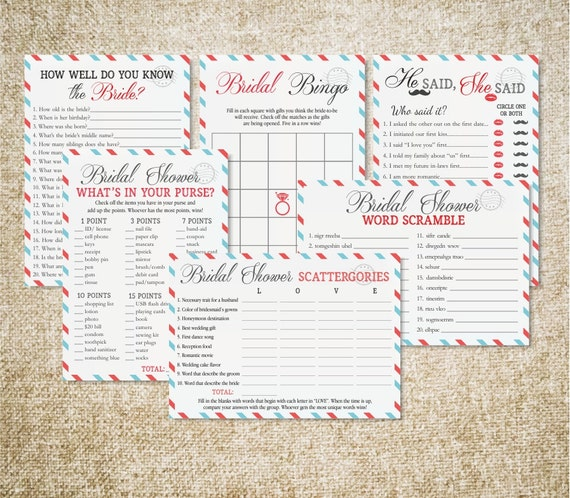 Travel Bridal Shower Printable Games Package Game By