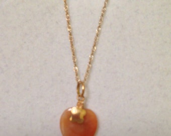 Gold Orange Jade Heart Pendant with 10k Gold Chain 16L