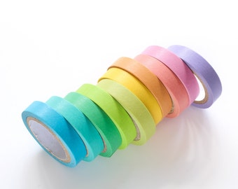 Rainbow Color Thin Washi Tape Bundle Set of Ten 7mm/ Multi-Color Washi Tape