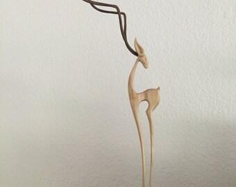 Deer wood figure