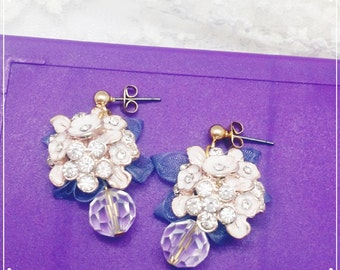 flower and crystal, earrings, with chiffon bow tie