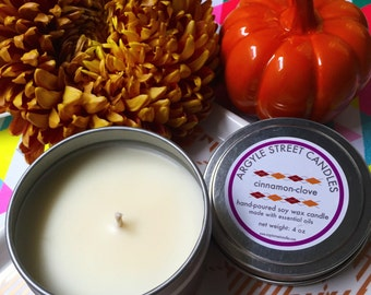 SALE Soy Candle Essential Oil Cinnamon Clove Tin Container Candle Handmade