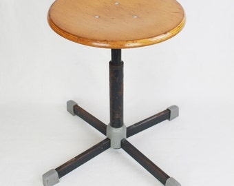 Bauhaus Wooden / Metal Stool   Adjustable Stool   Screw 50s Industrial Stool