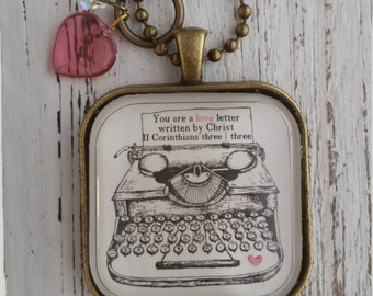 Necklace-You Are a Love Letter-Bible Necklace-Handmade