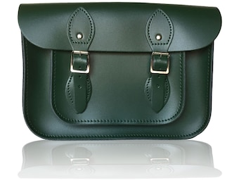 """11"""" Classic British Leather Satchel 100% Real Leather - British Racing Green"""
