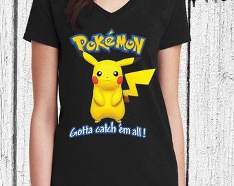FREE SHIPPING Pokemon Women V Neck - Pikachu Pokemon Shirt - Pokemon Women Shirt - Pikachu Shirt - Pokemon Shirt - Pokemon Shirt for Women
