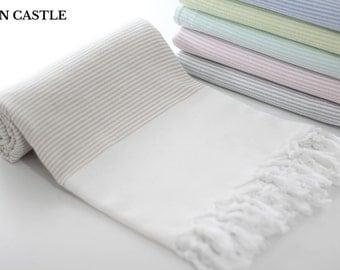 Midilli | Turkish Bath Towel | Beige | Turkish Towel | Peshtemal Towel | Beach Towel | Bathroom | Cotton | Peshtemal | Extra Thick