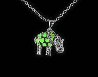 Glow Jewelry Necklace - Glow in the Dark Necklace - Elephant Pendant Green Glow Jewelry