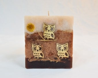 Square Candle with Owls