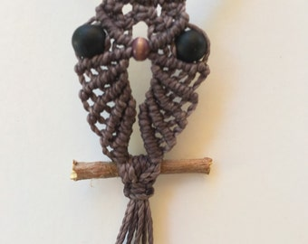Handmade macrame smoke color owl necklace