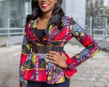 Farai Peplum Jacket/ African Print Jacket/ Ankara Peplum Top/ African Print Top/ Bright Print Jacket/ African Print/ Ankara Fabric/ Jacket