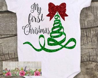 Christmas Onesie, Baby Girl Christmas Onesie, Christmas Shirt, My First Christmas Onesie, Onesie For Baby Girls