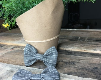 Small Linen Striped Bow- Grey