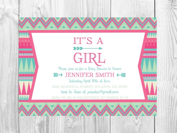 Arrow Baby Shower Invitation << It's a Girl >> Tribal Shower << Sprinkle Invite  >>Pink Baby Shower >> Custom Printable Digital File