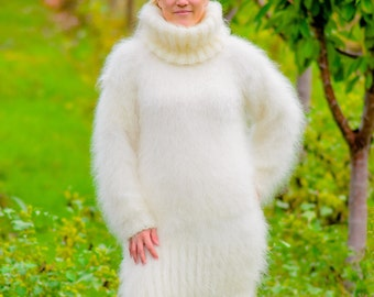 Hand Knitted Mohair Sweater champagne
