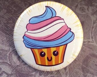 Button - Cute Transgender LGBT Queer Pride Flag Cupcake!