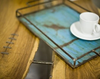 Upcycling tray of Turquoise