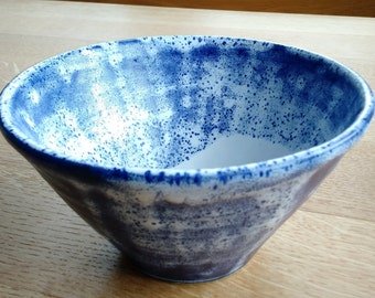 Ramen bowl -  cobalt blue and white
