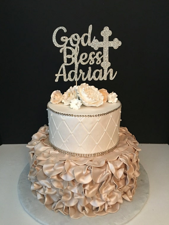 Personalized God Bless Cake Topper Baptism Cake Topper