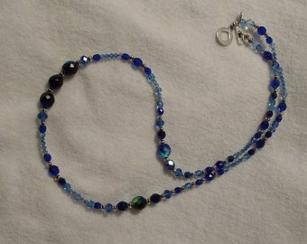 Long blue crystal necklace #59