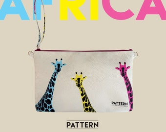 Clutch bag with shoulder strap Thetravellovebag Africa fluorescent colors