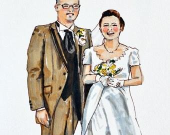 custom portrait couple, wedding, gift, birthday, family, portrait