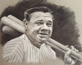 Babe Ruth charcoal portrait