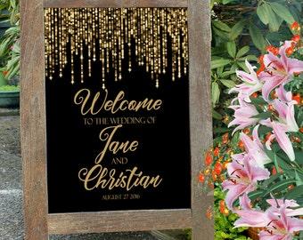 Printable welcome wedding sign, gold glitter reception entrance sign, bokeh sparkle gold and black digital sign. String lights welcome sign