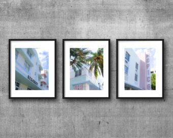 triptych, printable art, instant download, colour photography, home decor, wall art, 8x10 print, art deco, retro, south beach, miami, faded