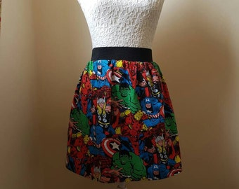 "Adult Marvel Avengers Full Skater Skirt - 2"" Waistband"