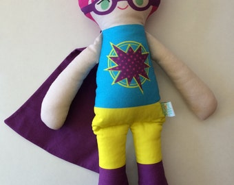 Handmade Fabric Girl Superhero Doll