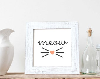 Meow Heart and Whiskers Print, Cat Lover, Heart, Black and White, Wall Decor, Home Decor, Office Decor, Baby Nursery, Digital Print