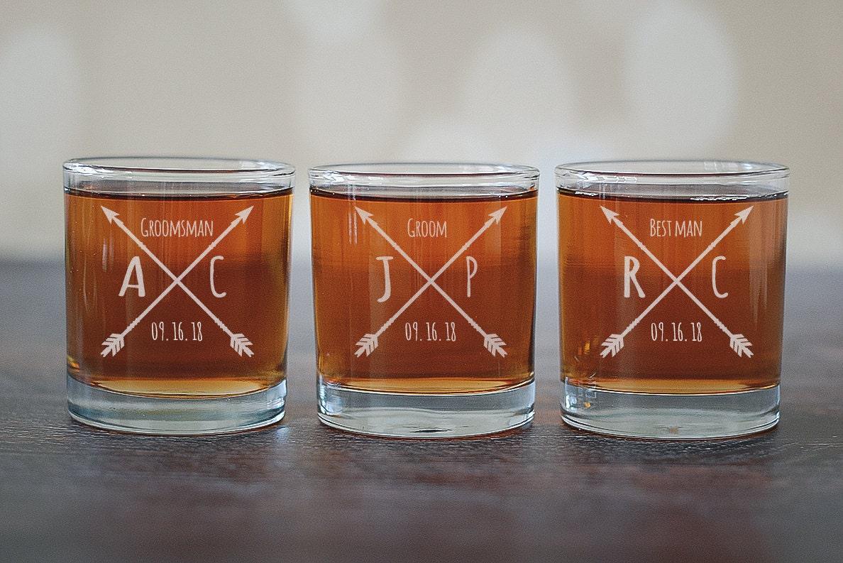Groomsman Scotch Glass Arrows Whiskey Glass Groomsmen Gift